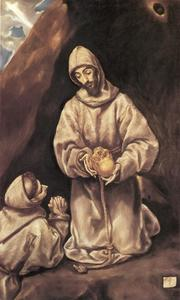 El Greco (Doménikos Theotokopoulos) - St. Francis and Brother Leo Meditating on Death