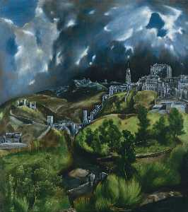 El Greco (Doménikos Theotokopoulos) - View of Toledo - (Famous paintings reproduction)