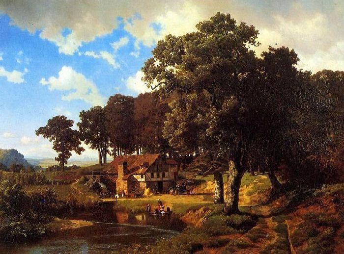 A Rustic Mill, Oil On Canvas by Albert Bierstadt (1830-1902, Germany)