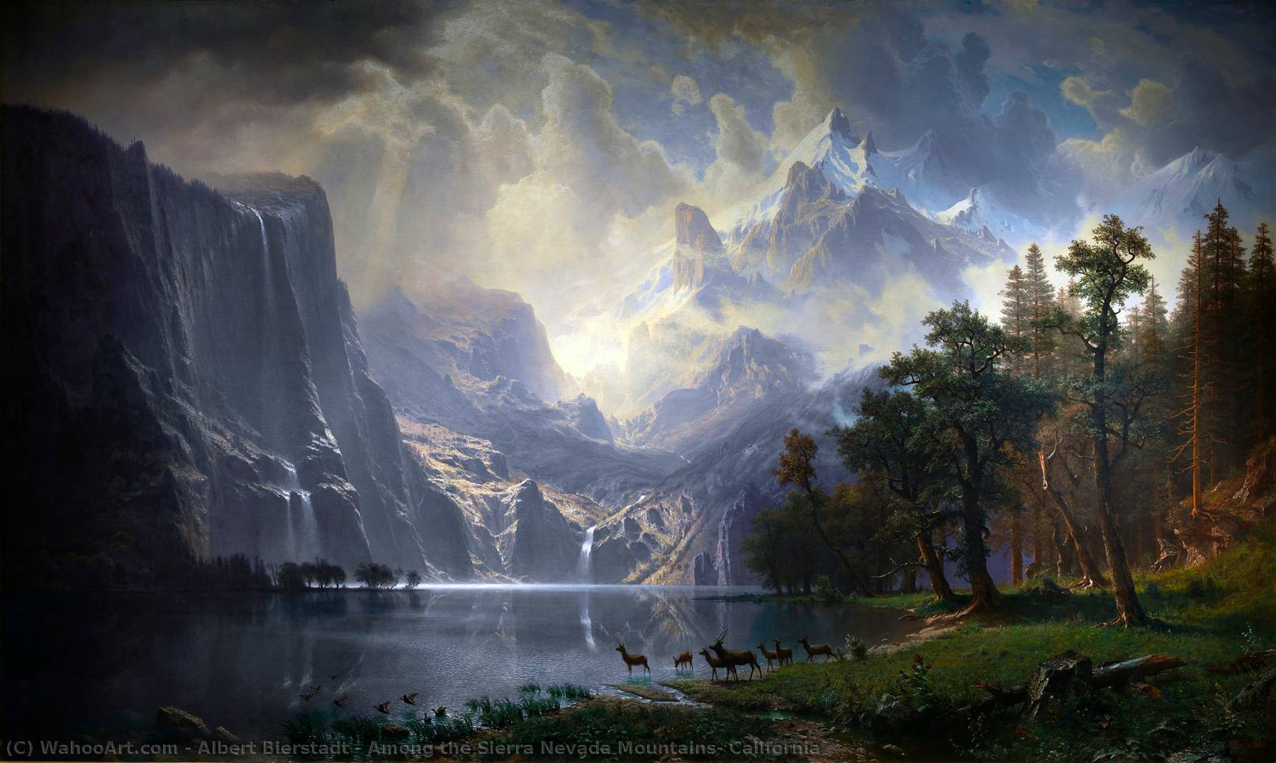 Among the Sierra Nevada Mountains, California, 1868 by Albert Bierstadt (1830-1902, Germany) | Reproductions Albert Bierstadt | WahooArt.com