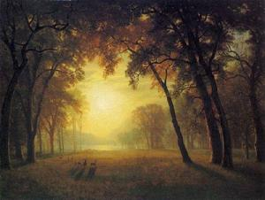 Albert Bierstadt - Deer in a Clearing - (Famous paintings reproduction)