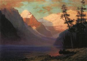Albert Bierstadt - Evening Glow, Lake Louise