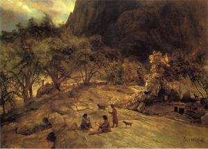 Albert Bierstadt - Mariposa Indian Encampment, Yosemite Valley, California