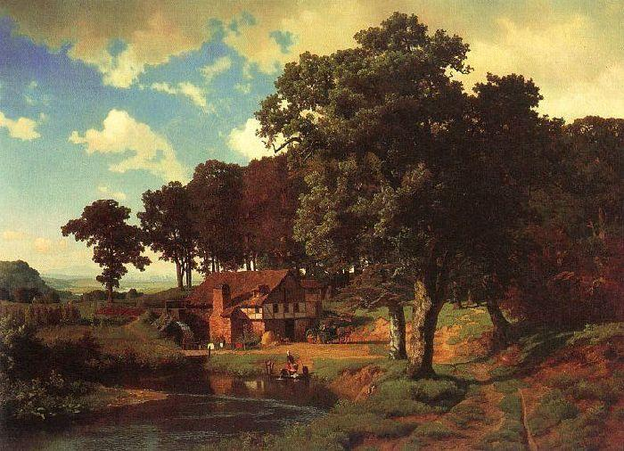 Rustic Mill, Oil by Albert Bierstadt (1830-1902, Germany)
