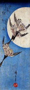 Ando Hiroshige - Full Moon and Wild Geese