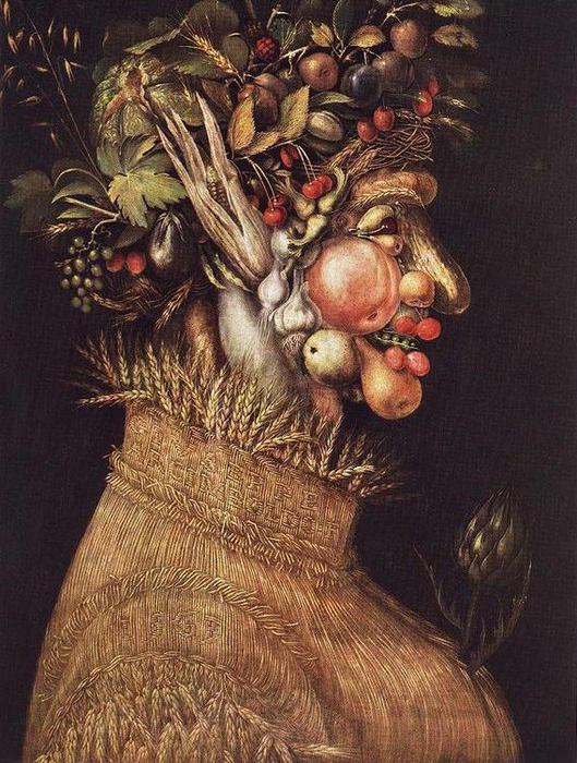 Summer 1, Oil by Giuseppe Arcimboldo (1527-1593, Italy)