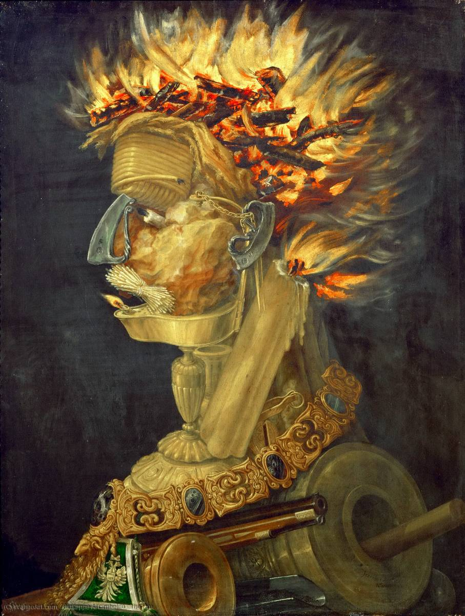 Order Paintings Reproductions | The Fire by Giuseppe Arcimboldo (1527-1593, Italy) | WahooArt.com