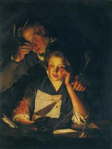 Joseph Wright Of Derby - A Young Girl Reading a Letter, with an Old Man Reading over Her Shoulder
