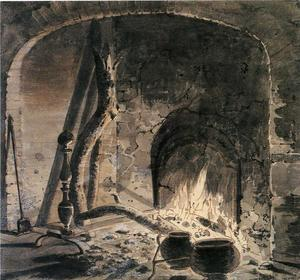 Joseph Wright Of Derby - An Open Hearth with a Fire