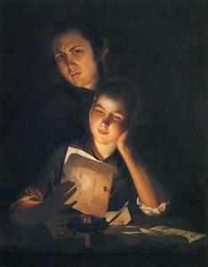 Joseph Wright Of Derby - Girl Reading a Letter by Candlelight, With a Young Man Peering over Her Shoulder