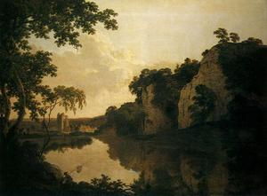 Joseph Wright Of Derby - Landscape with Dale Abbey and Church Rocks