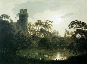 Joseph Wright Of Derby - Moonlight with a Lake and Castellated Tower