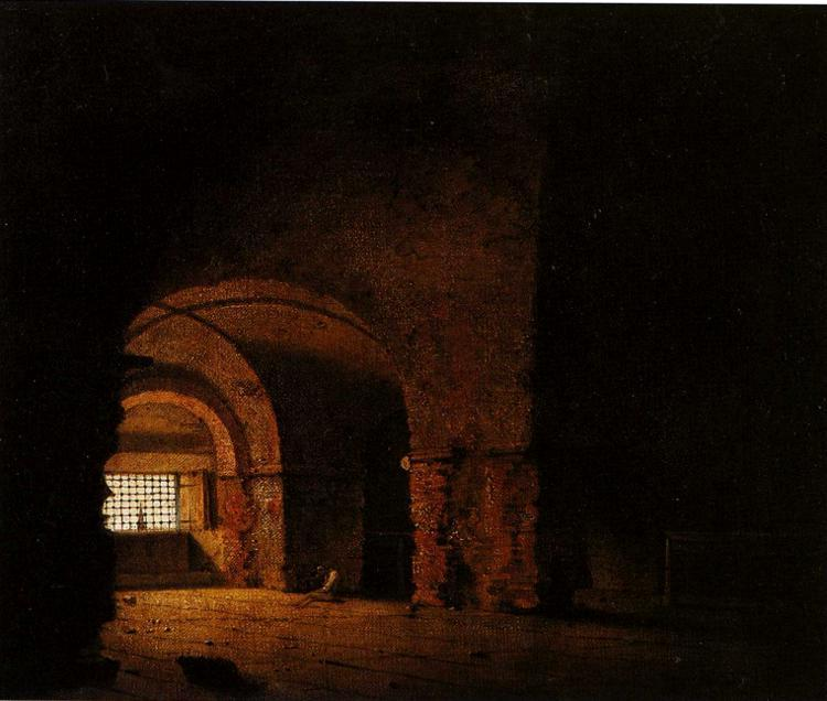 Small Prison Scene Oil By Joseph Wright Of Derby 1734