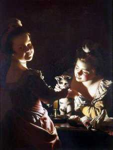 Joseph Wright Of Derby - Two Girls Dressing a Kitten by Candlelight