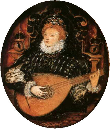 Elizabeth I playing the lute, Oil by Nicholas Hilliard (1577-1619, United Kingdom)