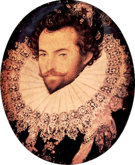 Sir Walter Raleigh by Nicholas Hilliard (1577-1619, United Kingdom) | Famous Paintings Reproductions | WahooArt.com