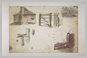 Richard Parkes Bonington - Study (Building brick, fence, wall, carousel, chair)