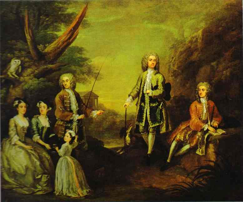 Order Paintings Reproductions | The Ashley and Popple Family, 1730 by William Hogarth (1697-1764, United Kingdom) | WahooArt.com