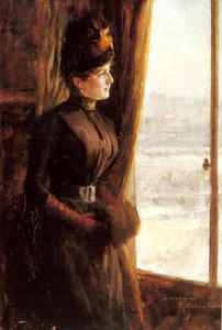 Albert Edelfelt - A Portrait Of Madame Vallery Radot