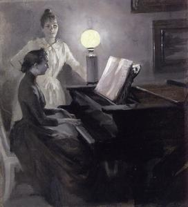 Order Famous Paintings Reproductions : At the Piano by Albert Edelfelt (1854-1905, Finland) | WahooArt.com
