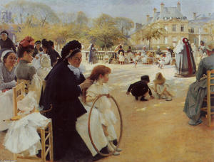 Albert Edelfelt - From the Park of Luxembourgh in Paris