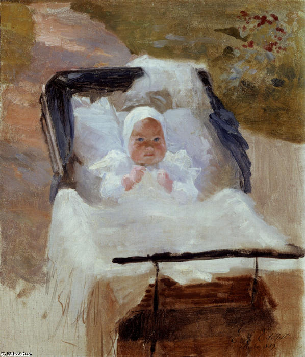 The Artist's Son Erik in his Pram, Oil by Albert Edelfelt (1854-1905, Finland)