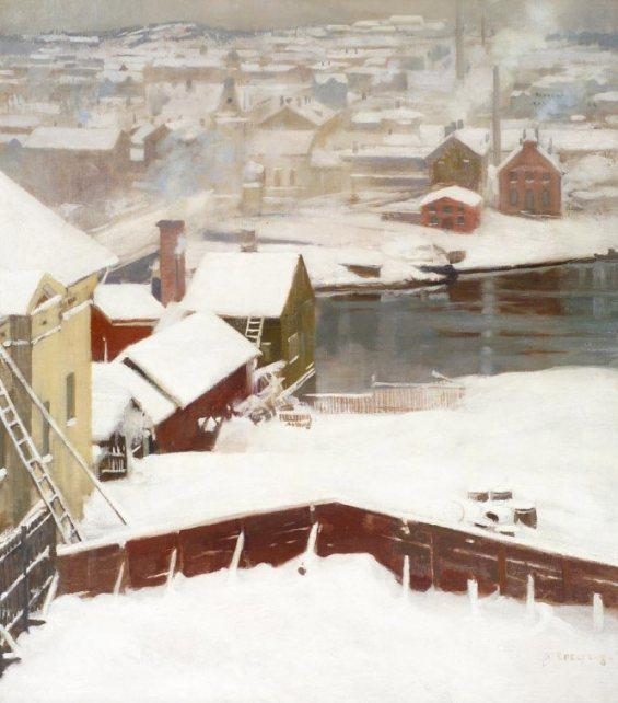 The First Snow by Albert Edelfelt (1854-1905, Finland) | Oil Painting | WahooArt.com