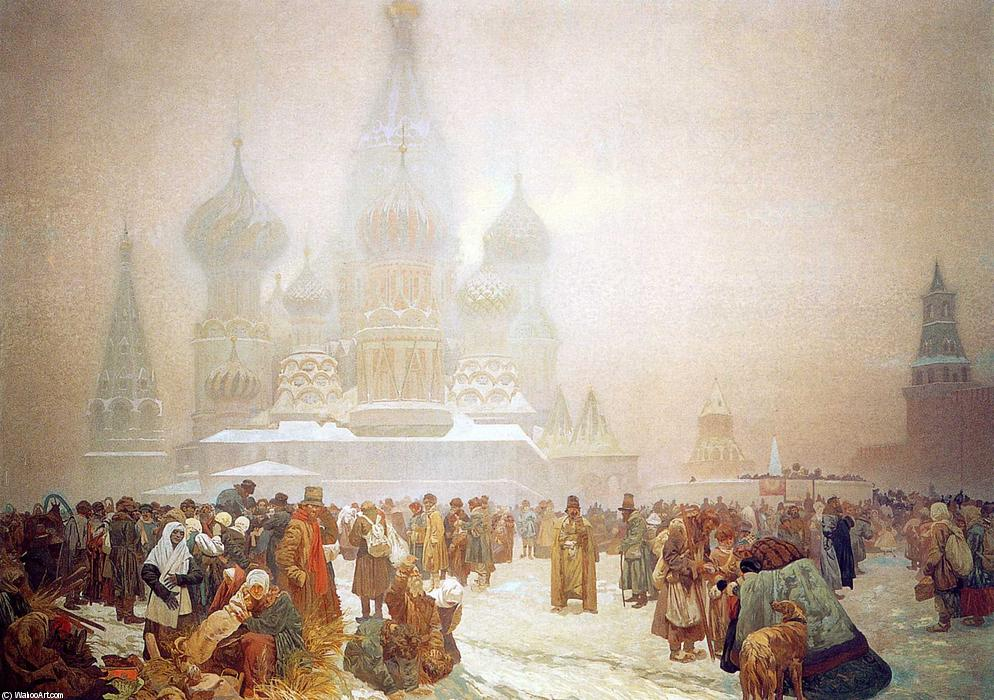 Abolition of Serfdom in Russia, Oil by Alfons Maria Mucha (1860-1939, Czech Republic)