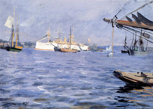 Anders Leonard Zorn - The Battleship Baltimore In Stockholm Harbor