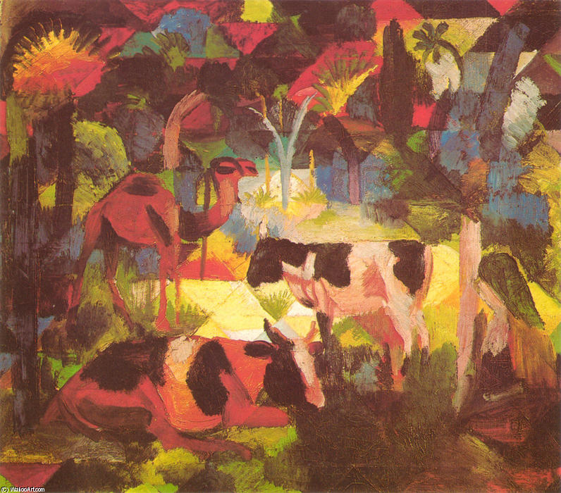 Landscape with Cows and Camel, Oil by August Macke (1887-1914, Germany)