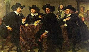 Bartholomeus Van Der Helst - The Regents of the Kloveniersdoelen Eating a Meal of Oysters