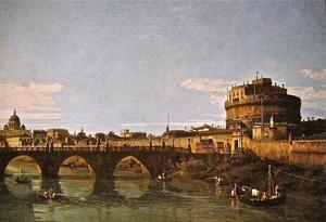 Bernardo Bellotto - View of the Tiber with the Castel Sant'Angelo
