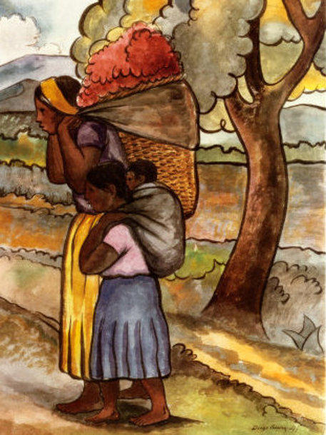 Flower Vendor With Child by Diego Rivera (1886-1957, Mexico) |  | WahooArt.com