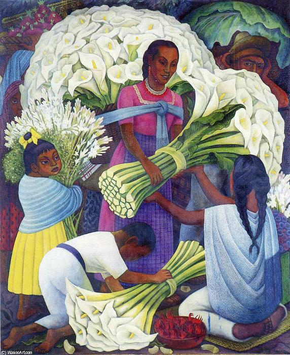 The Flower Seller by Diego Rivera (1886-1957, Mexico) |  | WahooArt.com