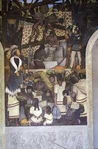 Diego Rivera - The History of Cuernavaca and Morelos - The Enslavement of the Indian and Constructiong the Cortez Palace 1