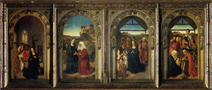 Dierec Bouts - Polyptych Showing The Annunciation, The Visitation, The Adoration Of The Angels And The Adoration Of The Kings