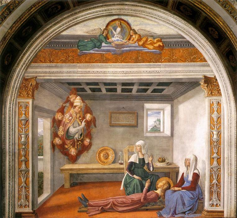 Announcement of Death to St Fina, 1473 by Domenico Ghirlandaio (1449-1494, Italy) | Oil Painting | WahooArt.com