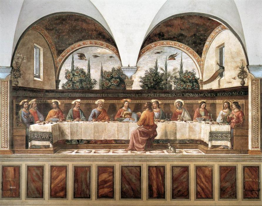 Last Supper 1, Oil by Domenico Ghirlandaio (1449-1494, Italy)