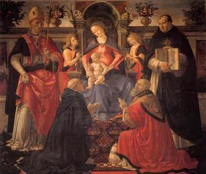 Domenico Ghirlandaio - Madonna and Child Enthroned between Angels and Saints