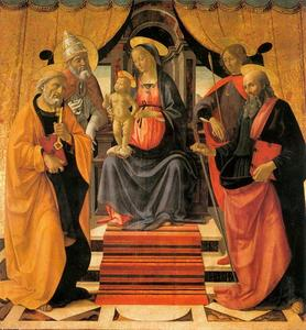 Domenico Ghirlandaio - Madonna and Child Enthroned with Saints 1