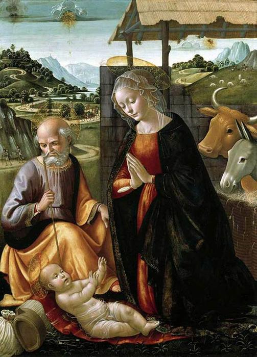 Nativity, Tempera by Domenico Ghirlandaio (1449-1494, Italy)