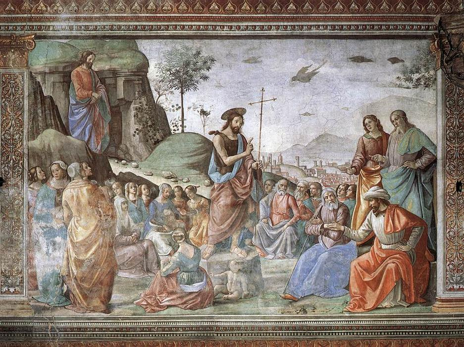 Preaching of St John the Baptist, Frescoes by Domenico Ghirlandaio (1449-1494, Italy)