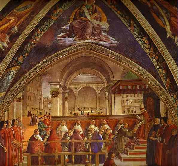 Order Museum Quality Reproductions : The Confirmation of the Rule of the Order of St. Francis by Pope Honorius III, 1480 by Domenico Ghirlandaio (1449-1494, Italy) | WahooArt.com
