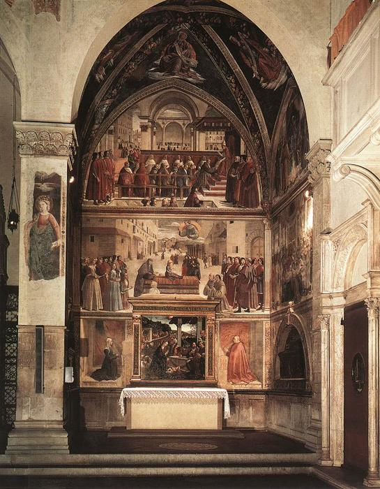 View of the Sassetti Chapel, 1483 by Domenico Ghirlandaio (1449-1494, Italy) | Museum Quality Reproductions | WahooArt.com