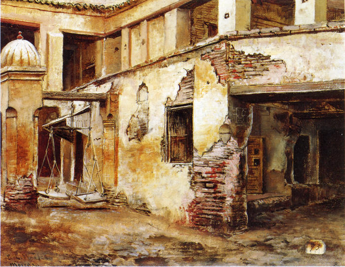 Courtyard in Morocco by Edwin Lord Weeks (1849-1903, United States) | Art Reproductions Edwin Lord Weeks | WahooArt.com