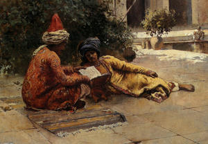 Edwin Lord Weeks - Two Arabs Reading