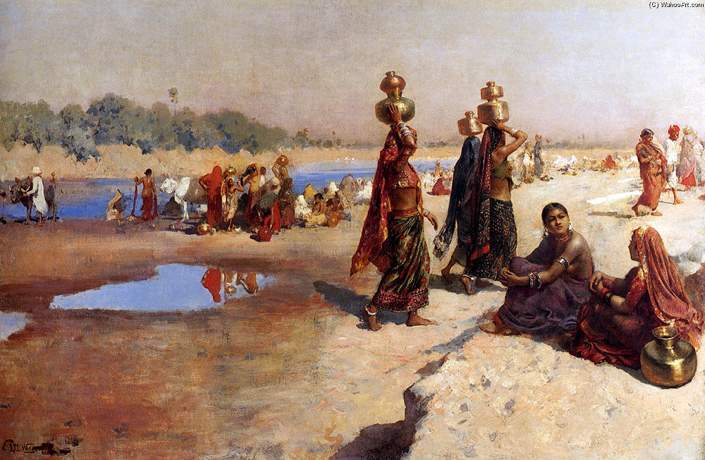 Water Carriers Of The Ganges by Edwin Lord Weeks (1849-1903, United States) | Museum Quality Copies Edwin Lord Weeks | WahooArt.com