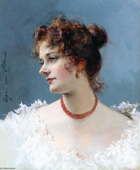 Portrait of a Lady by Eugene De Blaas (1843-1932, Italy) | Museum Quality Reproductions | WahooArt.com