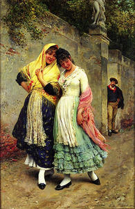 Eugene De Blaas - The Flirtation 1