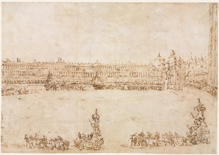 A Procession of Triumphal Cars in the Piazza San Marco, Venice, Celebrating the Visit of the Conti del Nord, Drawing by Francesco Lazzaro Guardi (1712-1793, Italy)